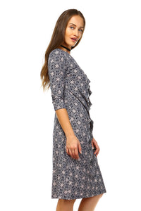 Women's 3/4 Three Quarter Sleeve Midi Dress with-Women's Clothing-EthioTELL