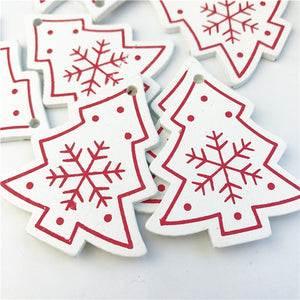 10PCs 5cm Wooden Christmas Tree Toys Articles For Chirstmas Hanging Ornaments Xmas Decor For Home Party Wedding New Year Noel