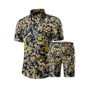 Summer Men Printed T-shirt + Shorts Decorative Pattern Two Piece Sets Plus Size H9-EthioTELL