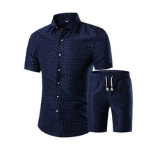 Load image into Gallery viewer, Summer Men Printed T-shirt + Shorts Decorative Pattern Two Piece Sets Plus Size H9-EthioTELL