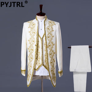 PYJTRL S-XXL Mens Classic Three Piece Embroidery Palace Stage Singer Wedding Suits Latest Coat Pant Designs Costume Homme-EthioTELL