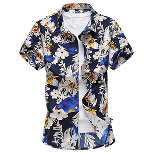 Mens Shirt Slim Fit Short Sleeve Floral Casual Flower Shirts-Other-EthioTELL