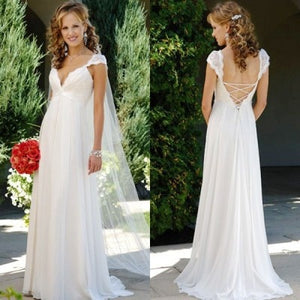 New Fashionable Beach Wedding Dresses With Chiffon Lace Backless V Neckline Romantic Vestido Floor Length Robe De Mariage-EthioTELL