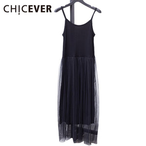 [CHICEVER] 2019 Sexy Off Shoulder Summer Women Dress Female Loose Spaghetti Strap Mesh Ladies Party Dresses New Clothing-EthioTELL