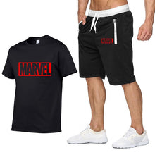 Load image into Gallery viewer, New Summer new Sale Men's Sets T Shirts+Shorts Two Pieces Sets Casual Tracksuit MARVEL brand Tshirt Gyms Fitness Sportswears set-EthioTELL
