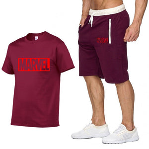 New Summer new Sale Men's Sets T Shirts+Shorts Two Pieces Sets Casual Tracksuit MARVEL brand Tshirt Gyms Fitness Sportswears set-EthioTELL
