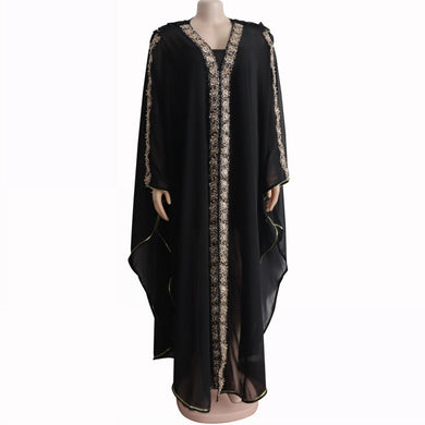 Black Tilapia Fashion Beading Women Maxi Long Dresses 150cm-Women's Clothing-EthioTELL