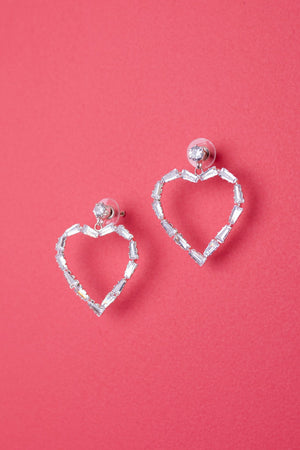 Love Me With Diamonds Heart Hoops - DCB