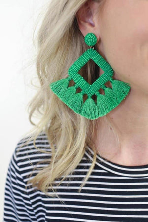 Lightweight Beaded Tassel Statement Earrings