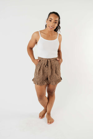 Short Leash Ruffled Shorts In Taupe - DCB Size Small