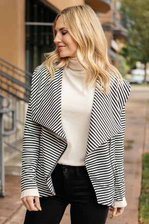 Business Casual Striped Jacket in Black - DCB Size Large