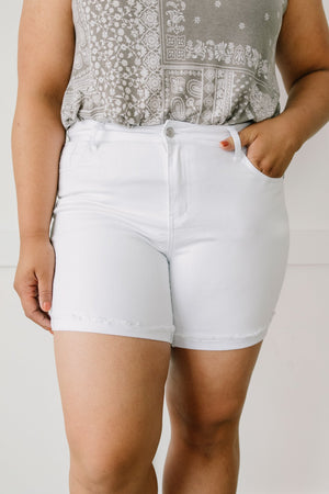 Judy Blue Clean Slate White Jean Shorts