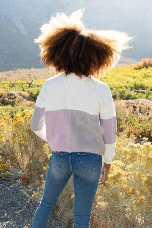 Chloe Color Block Top in Lavender