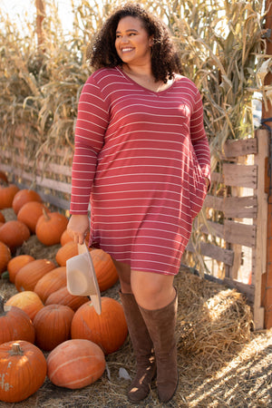 Cinnamon Striped Dress - DCB Size Small