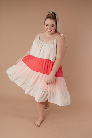 Color Block Ruffles Midi Dress In Pink