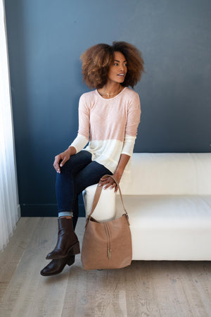 Delightfully Dipped Dusty Rose Top