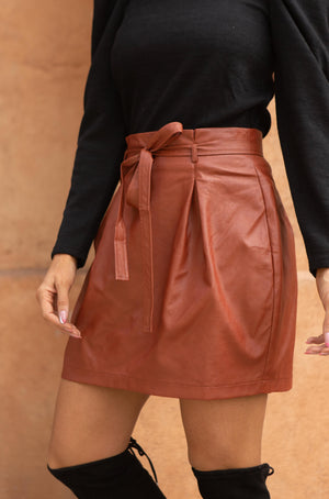 Faux But Fabulous Leather Skirt In Brick