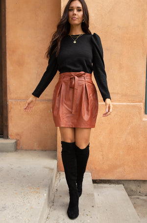 Faux But Fabulous Leather Skirt In Brick - DCB Size Small