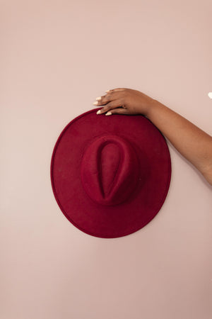 Felicity Flat Brim Hat In Wine