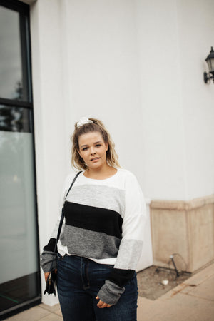 Heathered Heaven Striped Sweater In Winter Colors