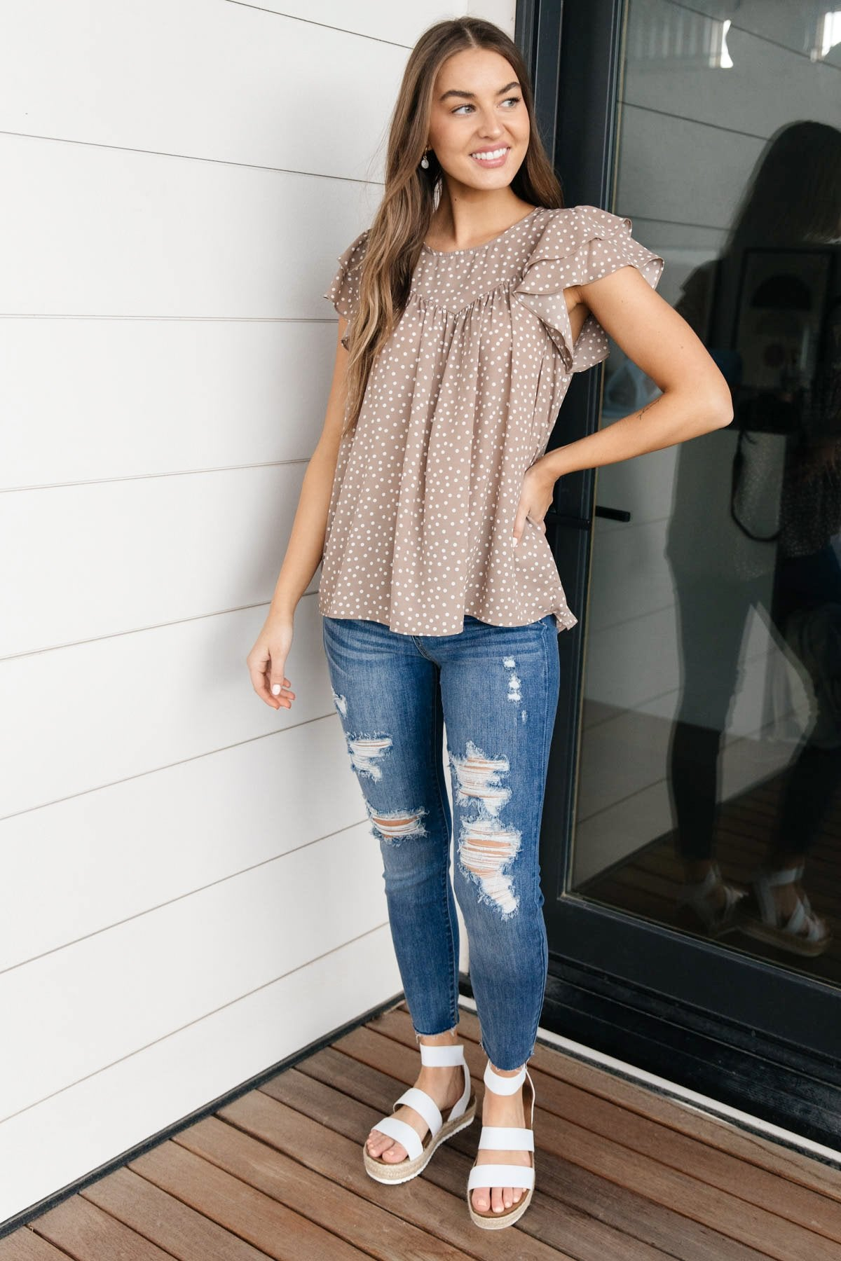 Layered Sleeve Sweetheart Blouse