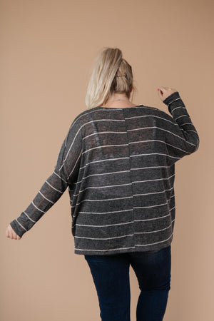 Lightweight Striped Pullover In Charcoal - DCB Size Small