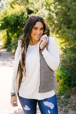 Reversible Shearling Puffer Vest In Mocha Gray