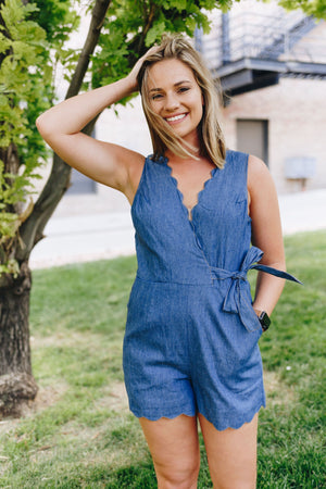 Scallop Away Denim Romper