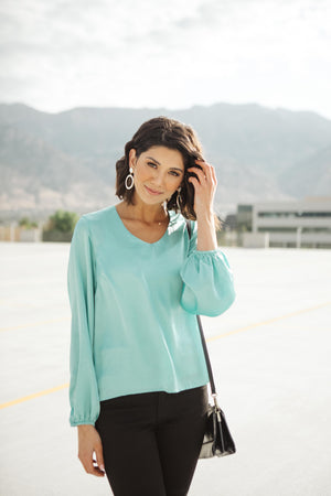 Silky Satin V-Neck Blouse In Aqua - DCB Size Medium