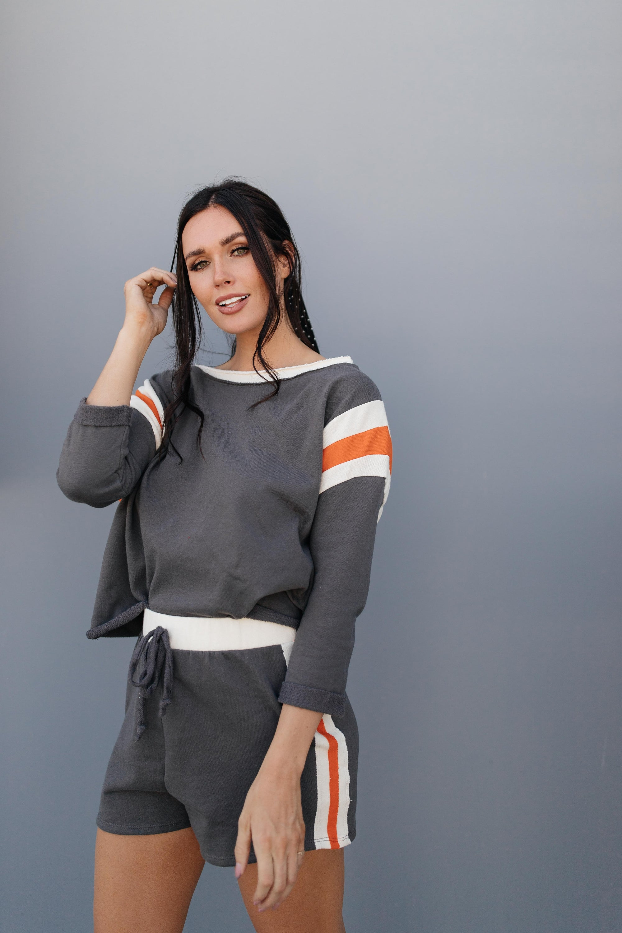 Sporty Stripe Pullover In Charcoal