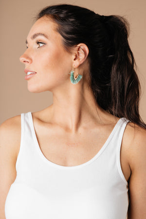 Tasseled V Earrings In MINT
