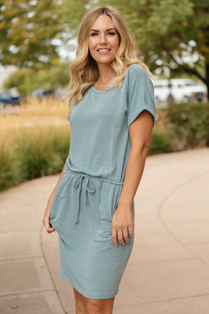 The Day Out Dress in Dusty Blue - DCB Size Small