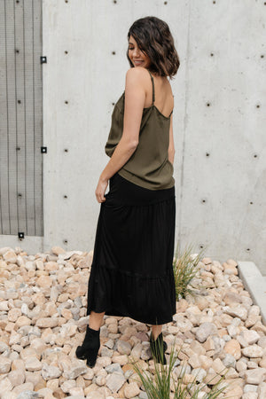 Tiered & Tied Skirt In Black - DCB Size Medium