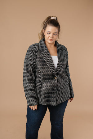 Tweedle Delightful Tweed Blazer In Black - DCB Size Large & 1XL