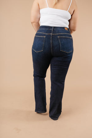 Judy Blue Whiskered Dark Wash Boot Cut Jeans