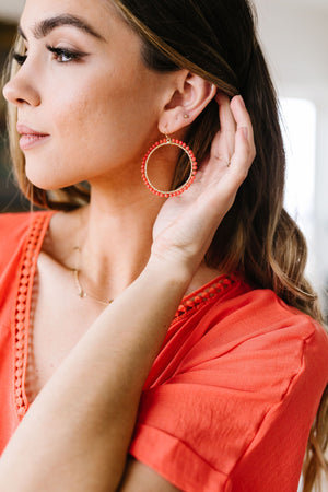 Beaded Coral Hoop Earrings