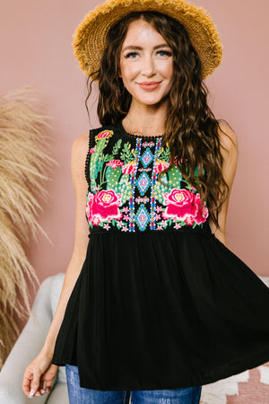 Bloom In The Desert Embroidered Top In Black
