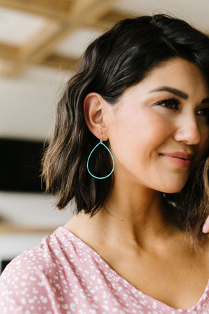 Falling Teardrop Hoops In Mint