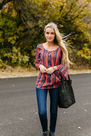 Hot And Cold Striped Babydoll Blouse