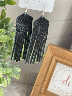 Leather Tassel Earrings (Multiple colors)