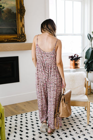 Julia Floral Jumpsuit In Dusty Rose