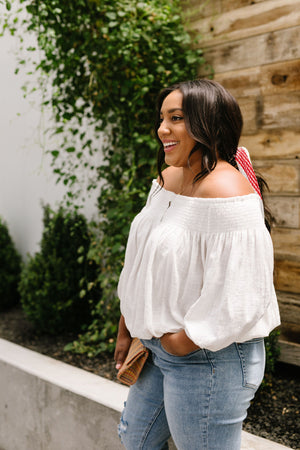 Just Add Sun Off Shoulder Top In White - DCB Size Large