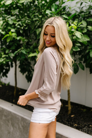 Just In Case Lace Trimmed Blouse In Taupe
