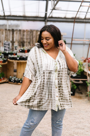 Olive Bamboo Button-Down Top