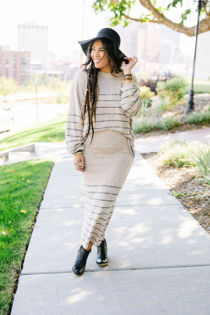 Part Time Striped Sweater Skirt