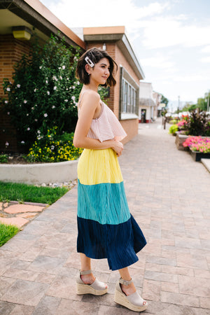 Pleated Color Block Midi Dress