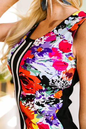Racing Stripes Floral Sheath Dress