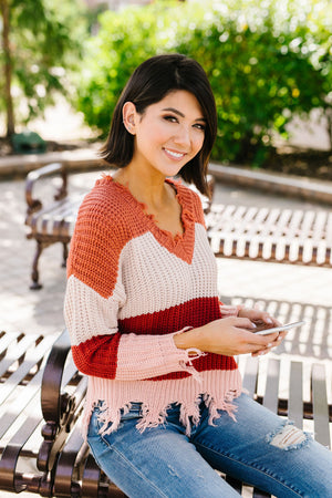 Rags To Riches Color Block Sweater
