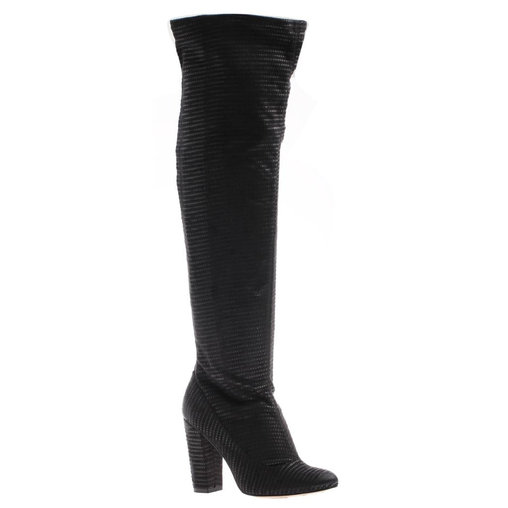 NICOLE - RICCI in BLACK FABRIC Over The Knee Boots