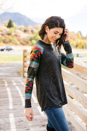 Santa Fe Raglan Long Sleeved Top